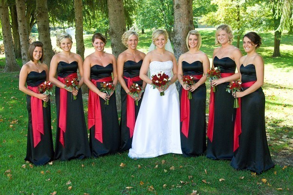 black bridesmaid dress with red belts
