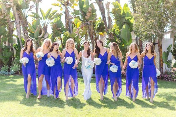 bright blue v neck bridesmaid dresses