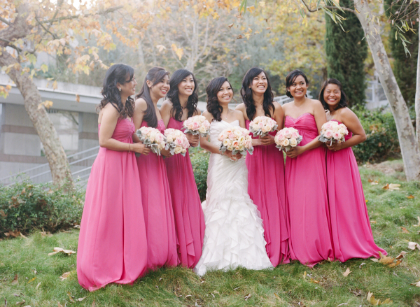 Bright pink long strapless bridesmaid dresses