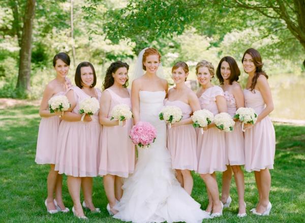pink short bridesmaid dresses