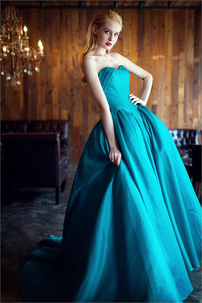 blue strapless ball gown wedding dress