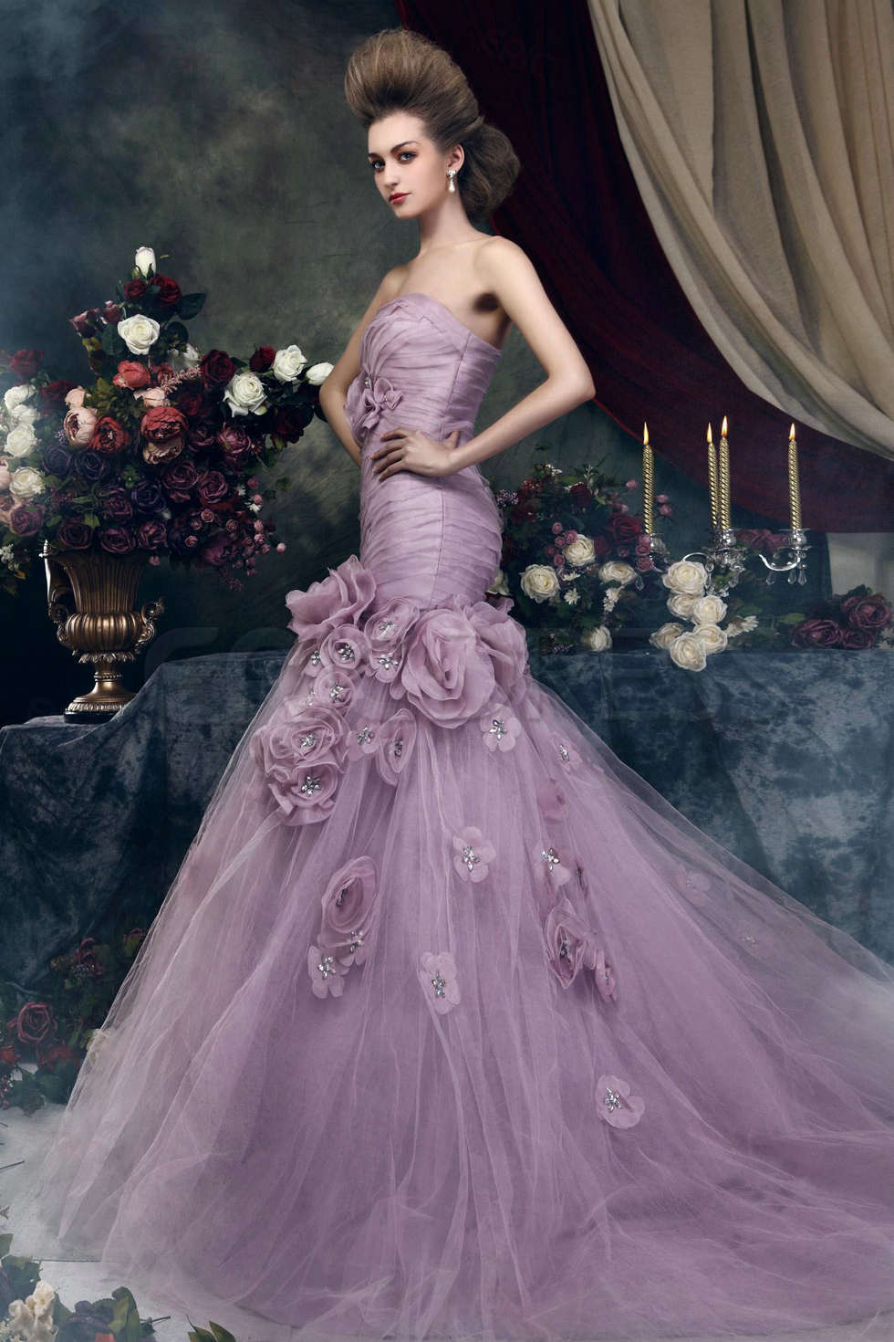 Colored wedding dresses are more and more popular for Wedding dresses with purple trim